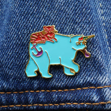 bear unicorn and cat enamel pin