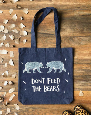 don't feed the bears heather navy tote bag