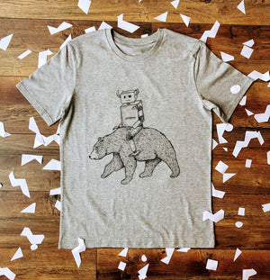 ROBOT RIDING BEAR GREY T-SHIRT