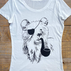 bear with pipe and eye patch tee