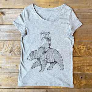 robot and bear women's grey t-shirt
