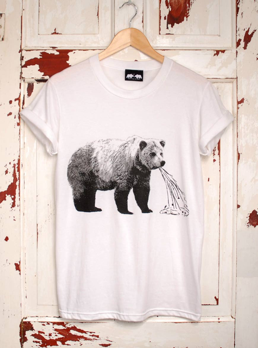sick bear white tee