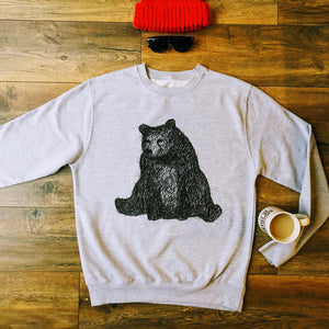 sitting bear grey jumper