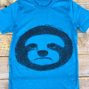 close up of kids sloth t-shirt