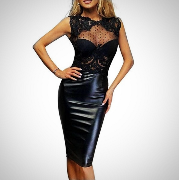 Mesh Leather Dress