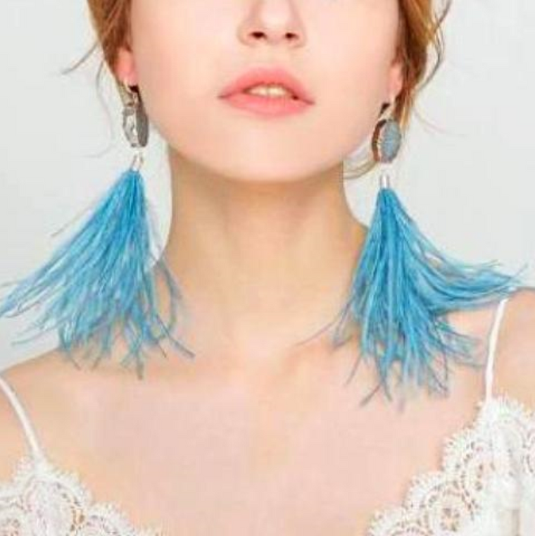 Ostrich Feather Earring