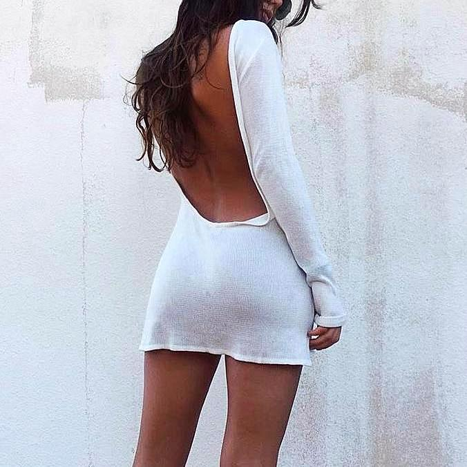Backless White Dress