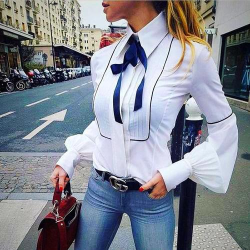 Blue Bow Shirt