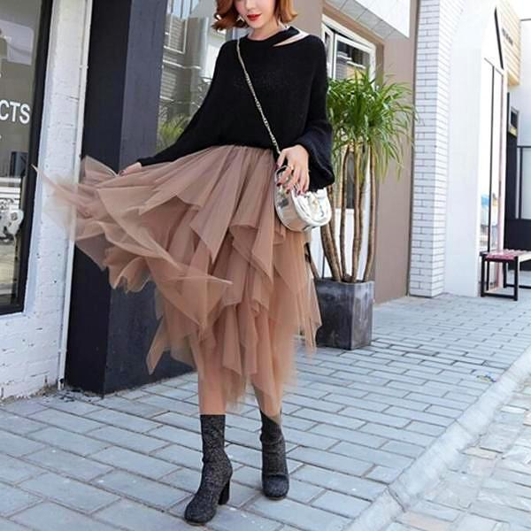 Long Tulle Skirt