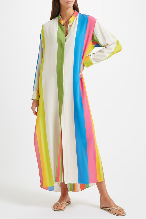 Kalmar Mali Straight Cuff Kaftan in Galaxy Stripe