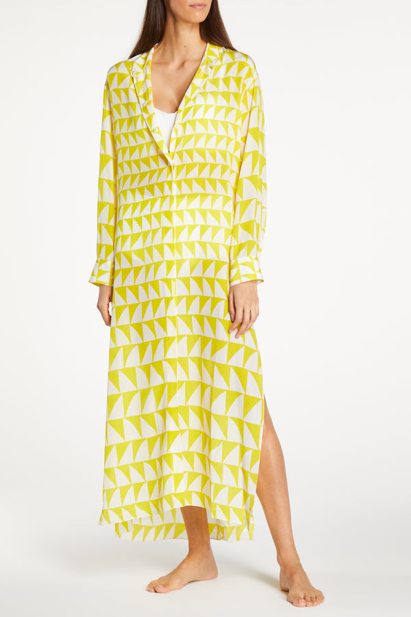 Kalmar Mali Open Front Yellow & White Icon Kaftan