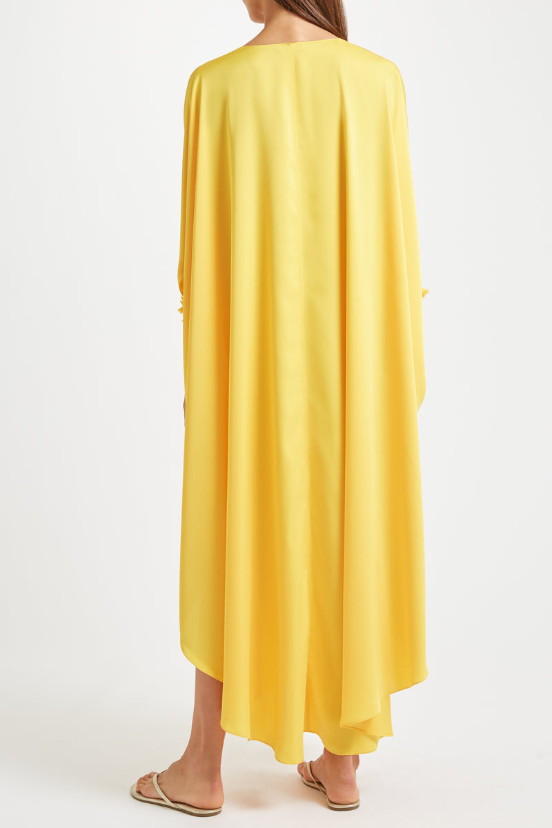 Sultana Kaftan Yellow with Embroidery