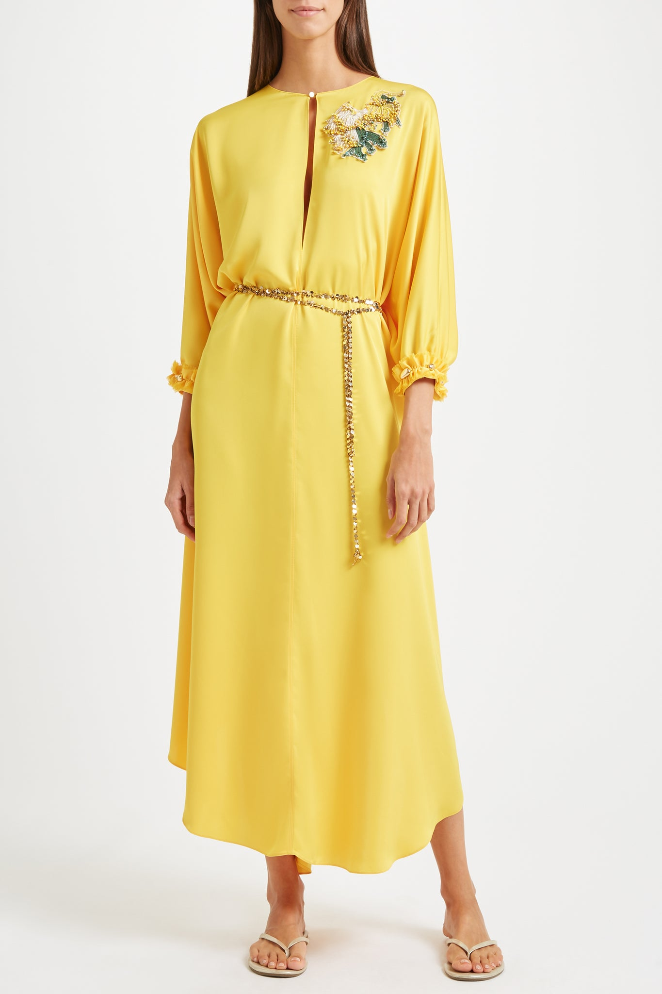 Kalmar Sultana kaftan in yellow poly satin