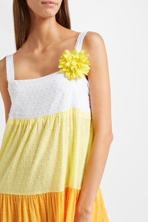 Kalmar Luna Tired Dress in white, lemon, apricot and raspberry plumetti cotton