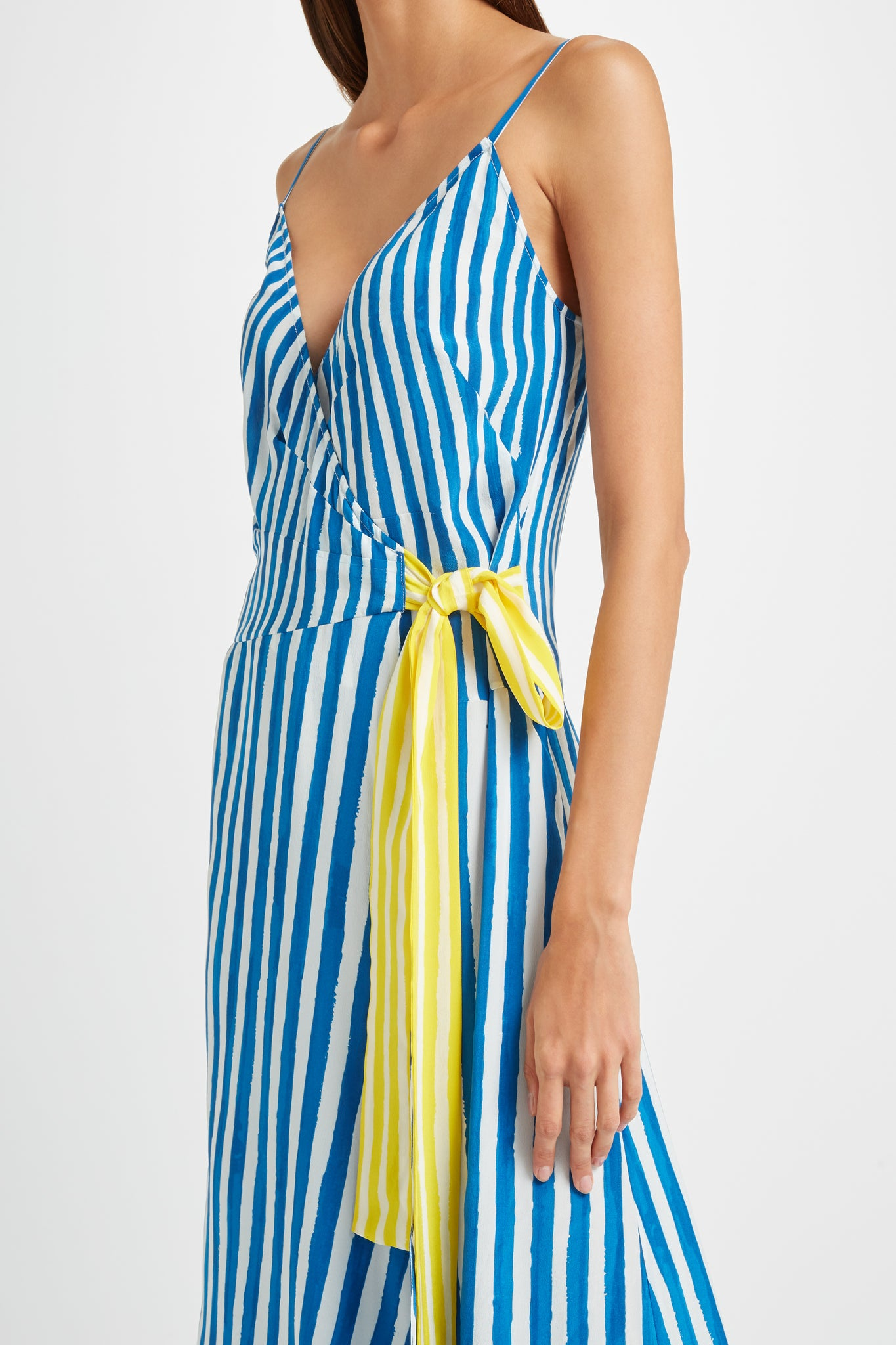 Kalmar Colette Dress in Blue Brush Stripe