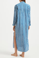 Kalmar Mali Straight Cuff Kaftan in Blue Brush Stripe