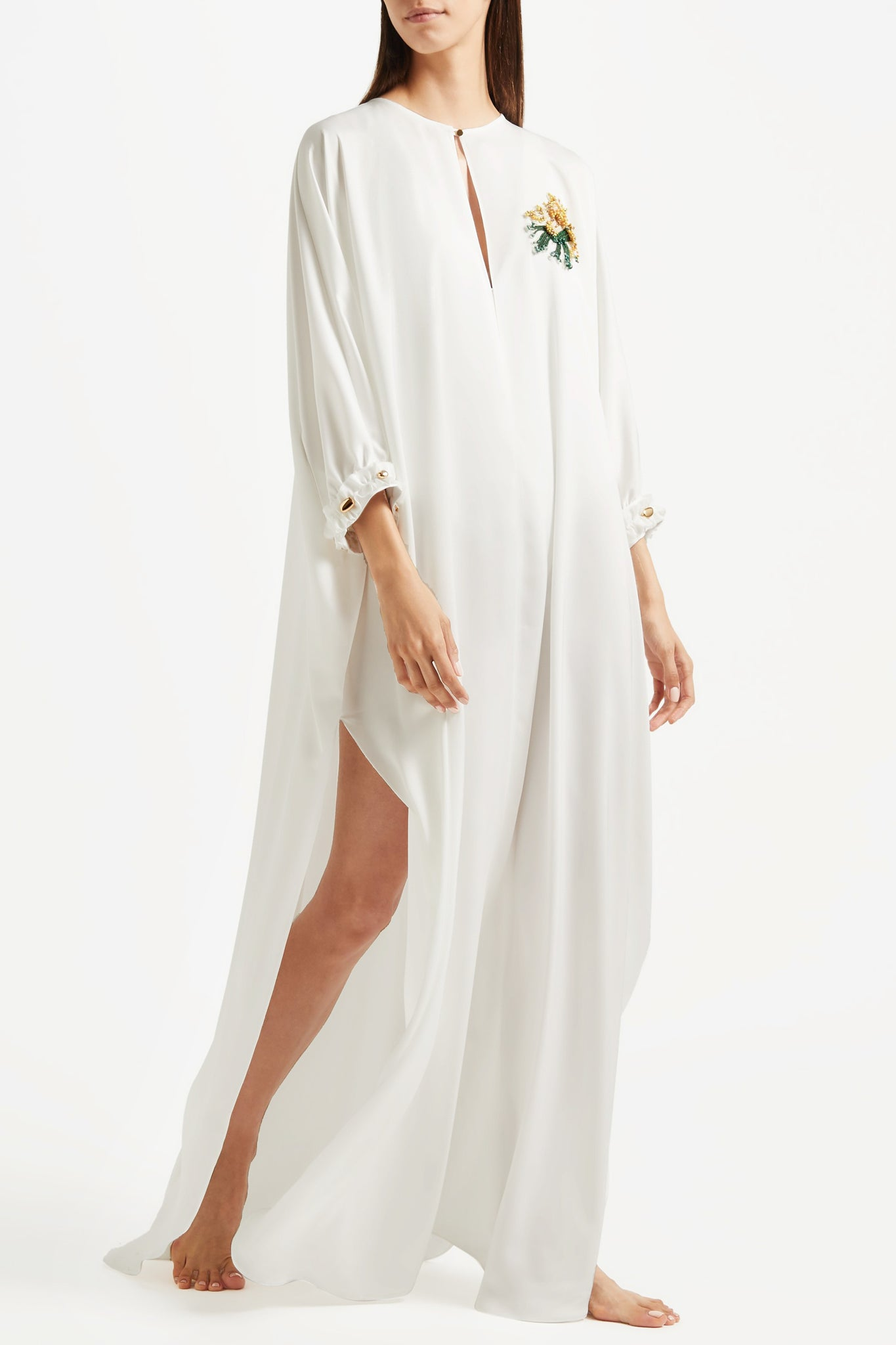 Sultana Kaftan in off white poly satin