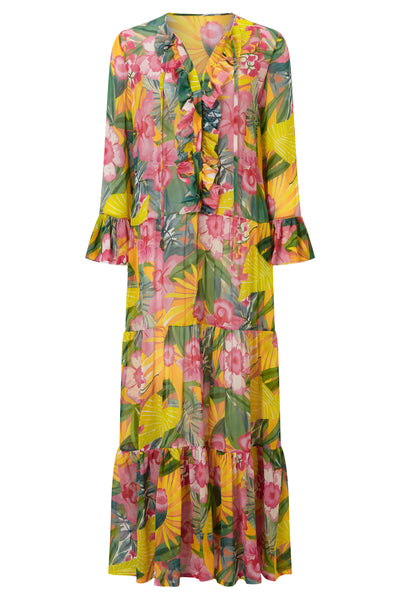 Kehlani Tropical Jungle Flower Dress by KALMAR