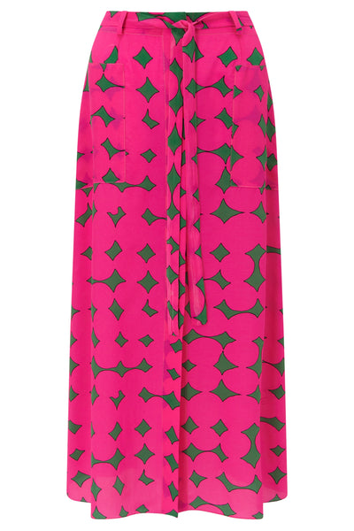 Flavia Fuchsia and Forest Green long Skirt by KALMAR