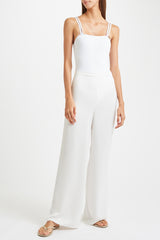 Kalmar Aimee Trousers in off white poly satin