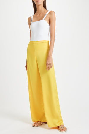 Kalmar Aimeé Trousers in yellow poly satin