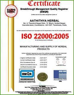 AathithyaHerbal-BMQR-Certification