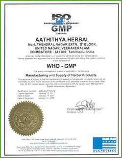 Aathithya Herbal's WHO certification