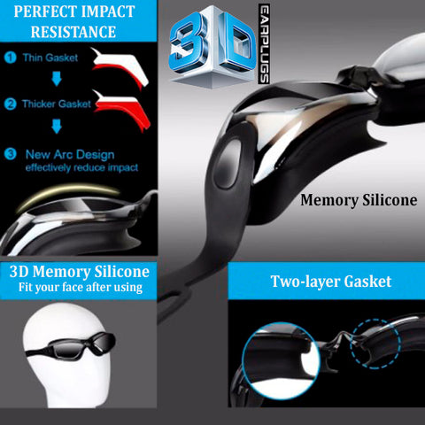 3D Memory Silicone Swim Goggles with Earplugs 11