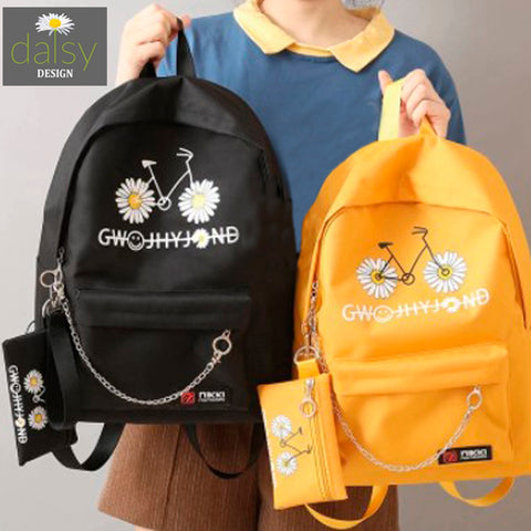 Daisy Flower Bicycle Design Backpack 6
