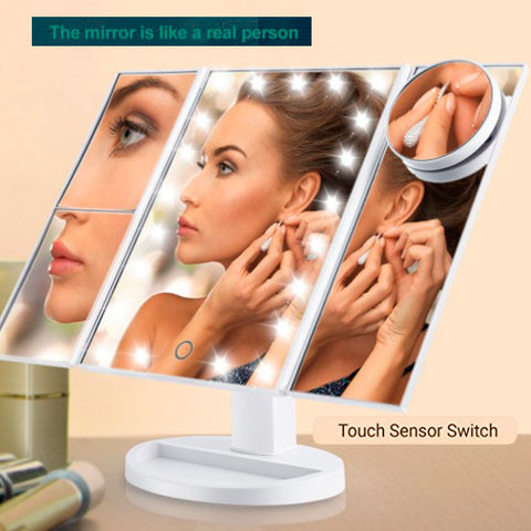 Magnifying Lighted Trifold Makeup Mirror 3