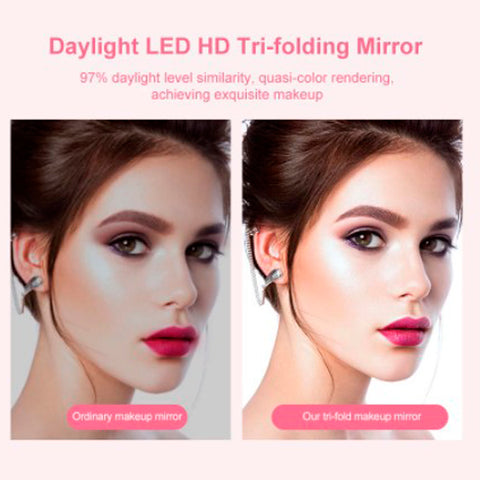 Magnifying Lighted Trifold Makeup Mirror 8
