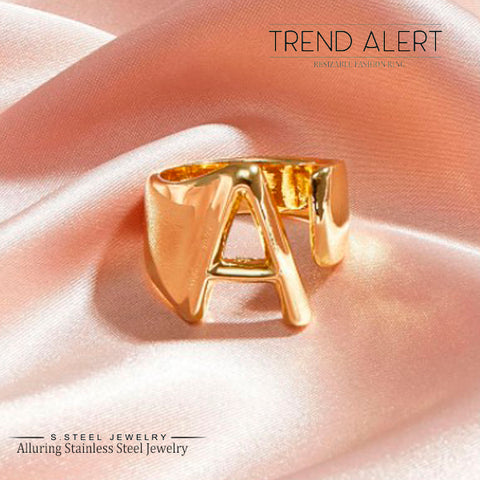 Trendy Initial Letter Adjustable Open Rings 6