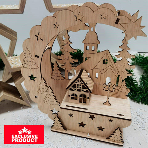 Laser Cut Wooden Christmas Village House 8