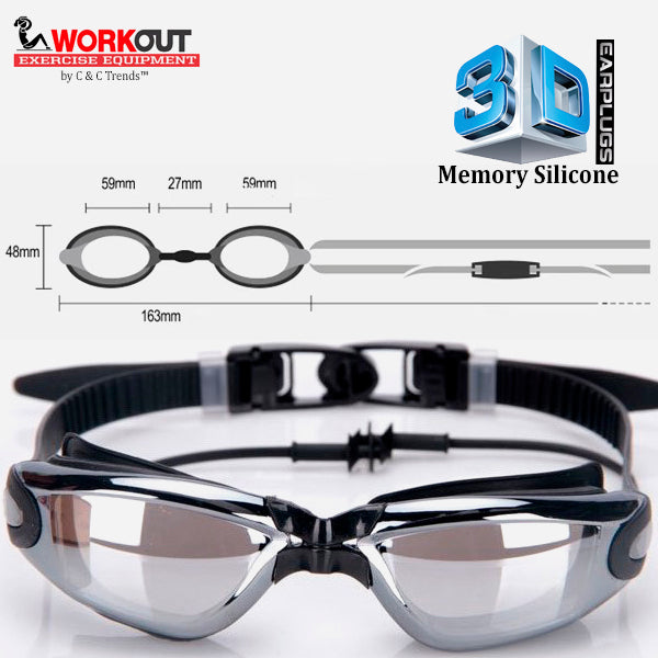 3D Memory Silicone Swim Goggles with Earplugs 12