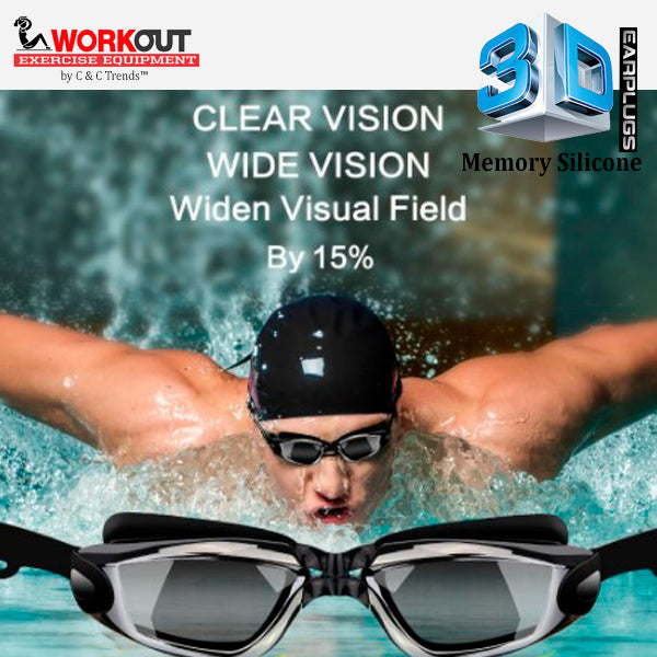 3D Memory Silicone Swim Goggles with Earplugs 13