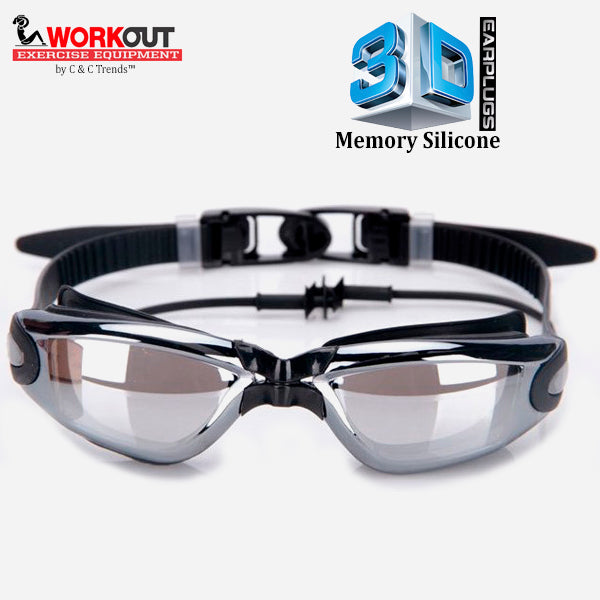 3D Memory Silicone Swim Goggles with Earplugs 3