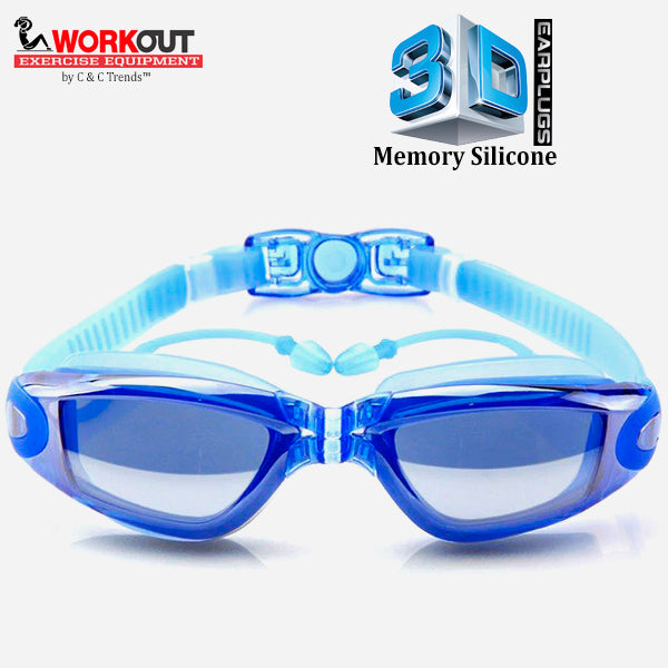 3D Memory Silicone Swim Goggles with Earplugs 4