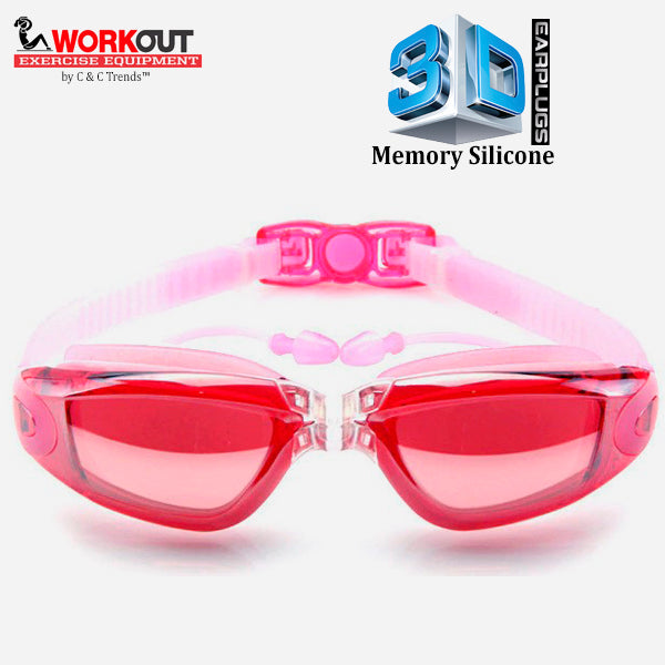 3D Memory Silicone Swim Goggles with Earplugs 5