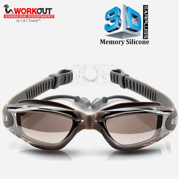 3D Memory Silicone Swim Goggles with Earplugs 6