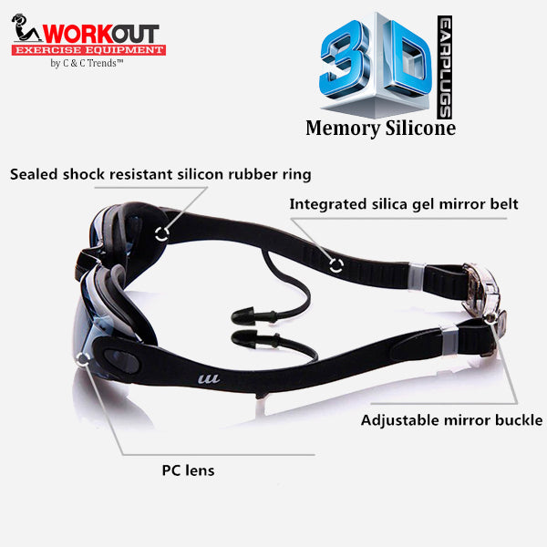3D Memory Silicone Swim Goggles with Earplugs 7