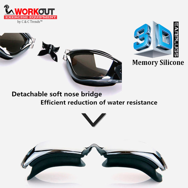 3D Memory Silicone Swim Goggles with Earplugs 8