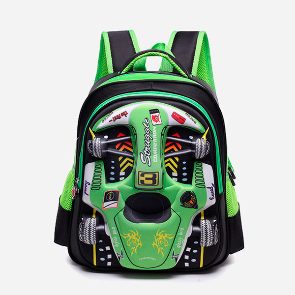 3D Racing Car School Backpacks