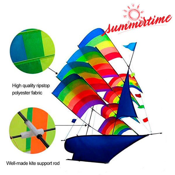 3D Rainbow Sailboat Kite