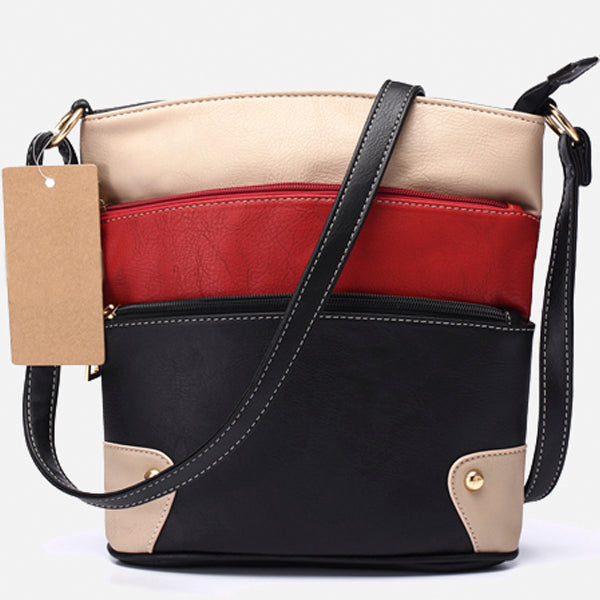 Three Zipper Patchwork Tote Bag