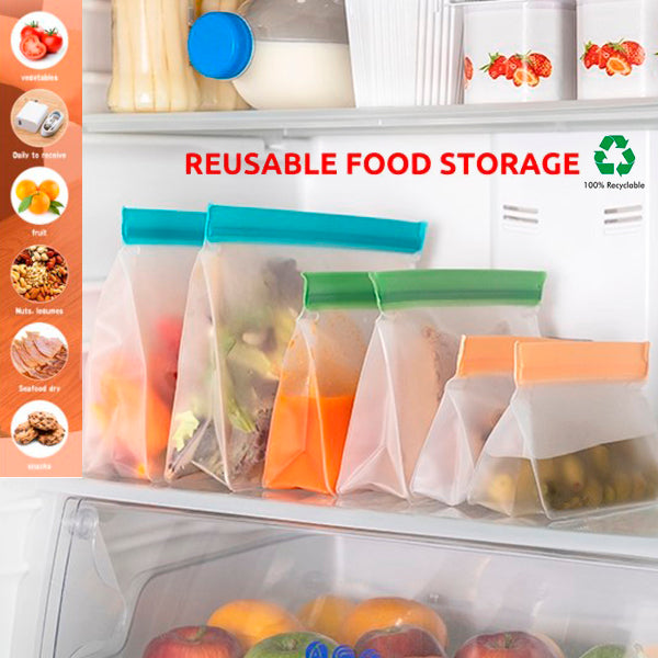 6 Pack Airtight Leakproof Reusable Silicone Food Bags 2