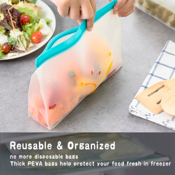 6 Pack Airtight Leakproof Reusable Silicone Food Bags 5
