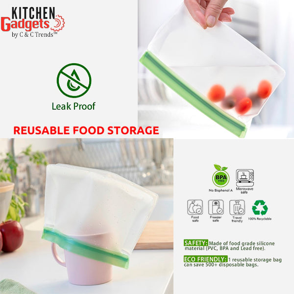 6 Pack Airtight Leakproof Reusable Silicone Food Bags 8