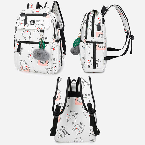 Anime USB Backpack For Teenagers (Combo 3 Pcs)