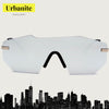 Asymmetric Rimless Mirrored Lens Oversized Sunglasses