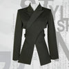 Black Asymmetric Cross Split Blazer 2